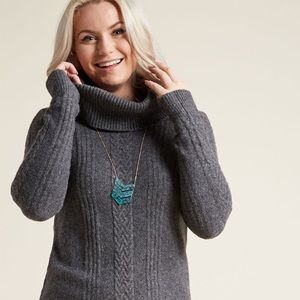 MODCLOTH grey cable knit turtleneck sweater dress